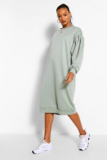 Sage Oversized Pleated Sleeve Midi Sweat Dress