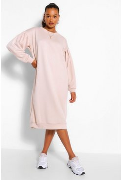 Stone beige Oversized Pleated Sleeve Midi Sweat Dress