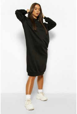 Black Oversized Hooded Midi Sweat Dress