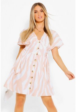 Soft pink Stripe Button Through Skater Dress