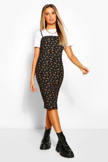 Black Ditsy Floral Strappy Midi Bodycon Dress