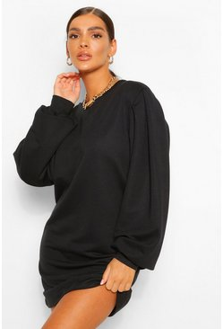 Black Puff Sleeve Sweat Dress