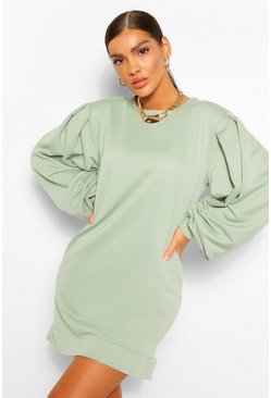 Sage green Puff Sleeve Sweater Dress