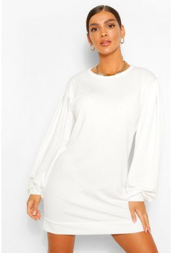 White Puff Sleeve Sweater Dress