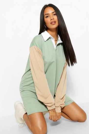 Green The Colour Block Rugby Dress