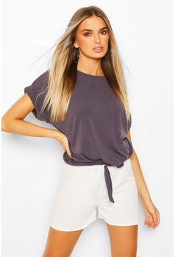 Grey Fine Knit Tie Front Top