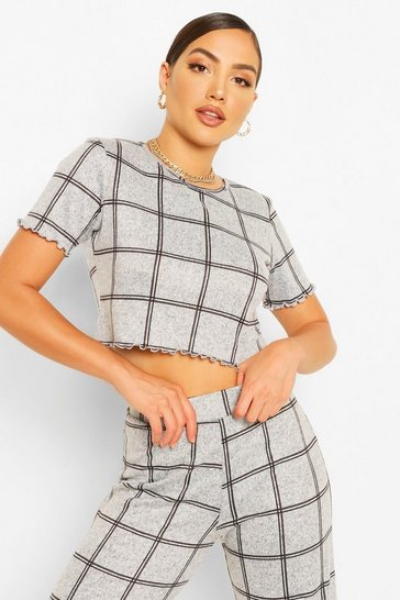 Grey Check Print Top