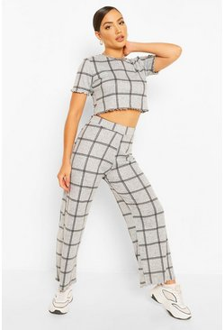Check Print Trousers, Grey