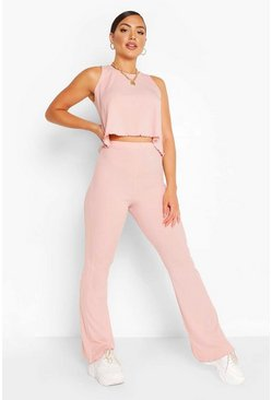 Rib Flared Trouser With Lettuce Hem, Blush