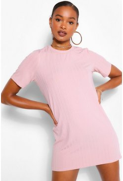 Blush pink Rib T-Shirt Dress
