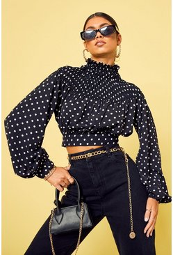 Black Polka Dot High Neck Shirred Crop Top