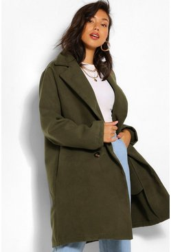 Khaki Double Breasted Wool Look Coat