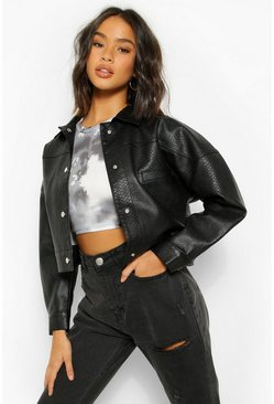 Black Oversized Faux Leather Shacket