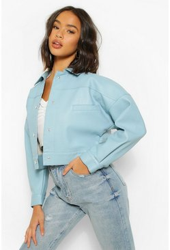 Blue Oversized Faux Leather Shacket