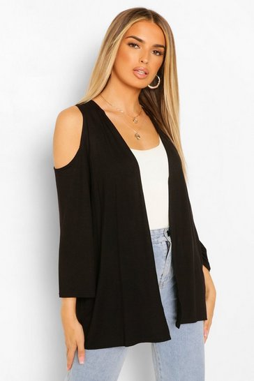 Black Basic Jersey Cold Shoulder Kimono