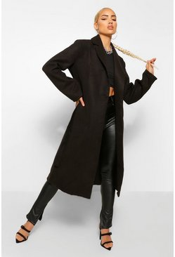 Black Belted Longline Wool Look Coat