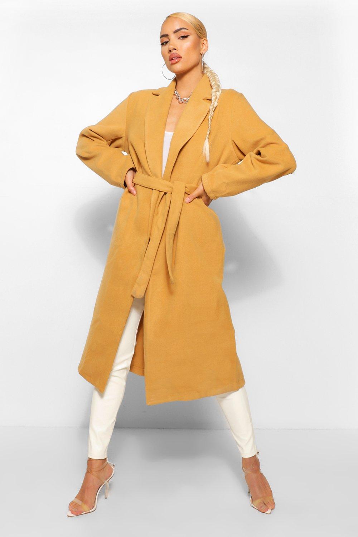 COATS & JACKETS Belted Longline Wool Look Coat