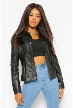 Black Fitted Collared Faux Leather Jacket
