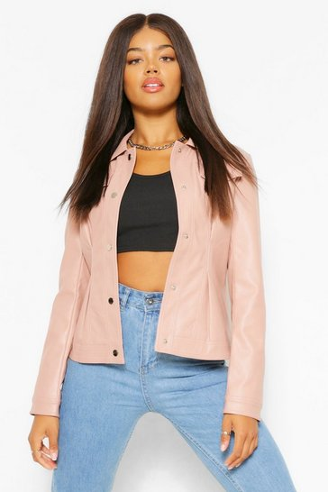 Blush pink Fitted Collared Faux Leather Jacket