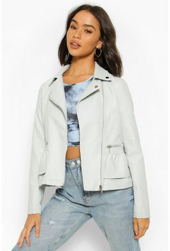 Grey Peplum Frill Detail Faux Leather Biker Jacket
