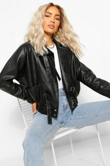Black Funnel Neck Oversized Faux Leather Jacket