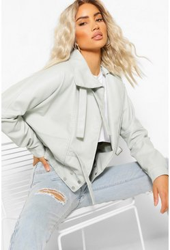 Grey Funnel Neck Oversized Faux Leather Jacket