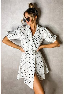 White Polka Dot Puff Shoulder Wrap Dress