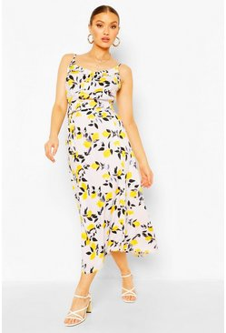 Ivory white Woven Citrus Print Camisole & Midi Skirt Two-Piece Set