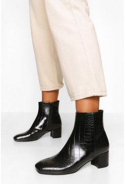 Black Croc Low Block Heel Shoe Boot