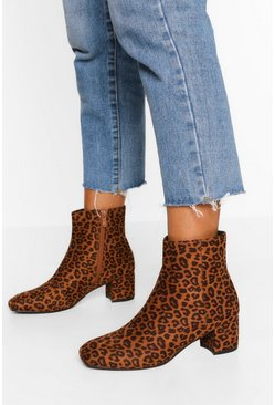 Leopard multi Low Block Heel Shoe Boot