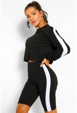 Black SIDE STRIPE SWEAT AND SHORT SET