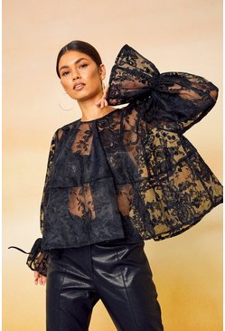 Black Lace Rouched Cuff Smock Top