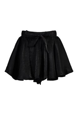 Black Woven Satin Flippy Short