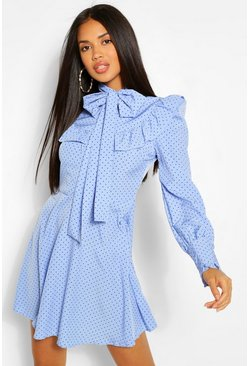 Blue Polka Dot Ruffle Detail Long Sleeve Skater Dress