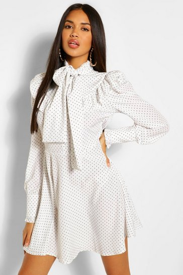 White Polka Dot Ruffle Detail Long Sleeve Skater Dress