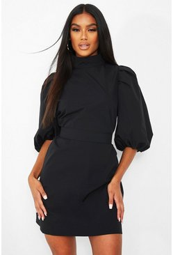 Black High Neck Puff Sleeve Belted Shift Dress