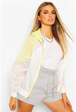 Lemon yellow Colourblock Hooded Windbreaker