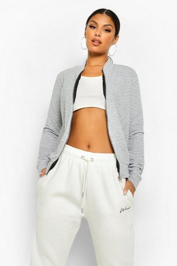 Grey Quilted Bomber Jacket