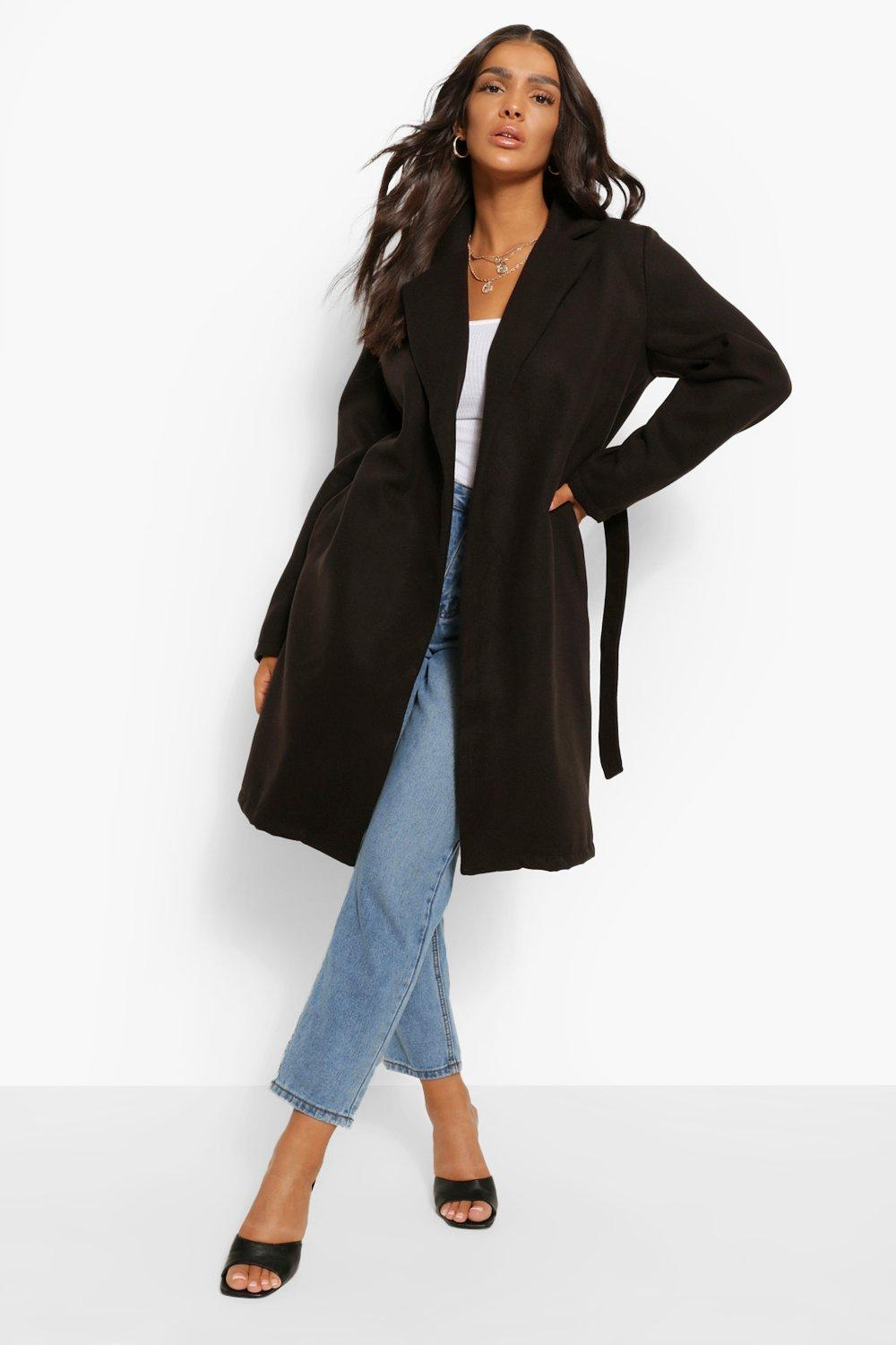 COATS & JACKETS Belted Wool Look Coat