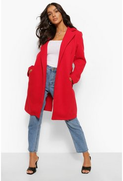 Red Belted Wool Look Coat