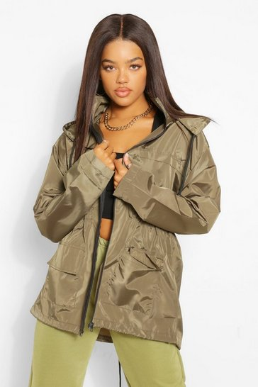 Khaki Hooded Waist Detail Mac