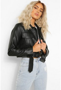 Black Croc Effect Belt Detail Faux Leather Jacket