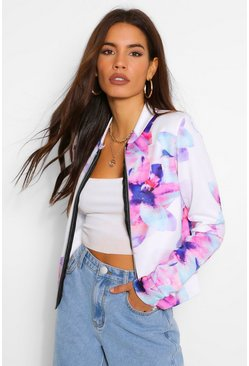 Cream white Floral Print Bomber Jacket