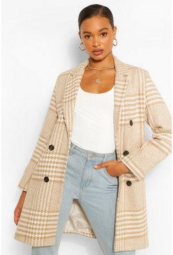 Stone beige Tonal Check Double Breasted Wool Look Coat