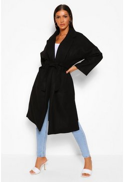 Black Belted Wrap Wool Look Coat