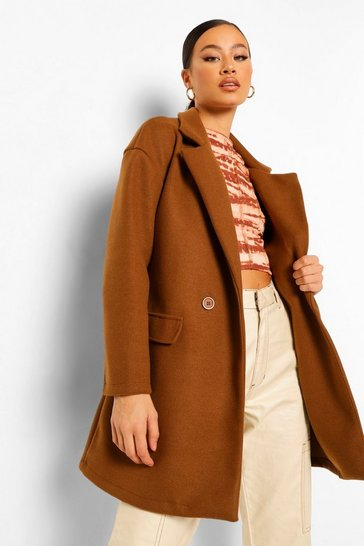 Chocolate brown Belted Wool Look Blazer