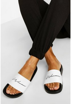 Zwart black Woman Slippers Met Tekst