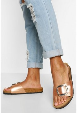 Rose gold metallic Single Strap Footbed Sliders