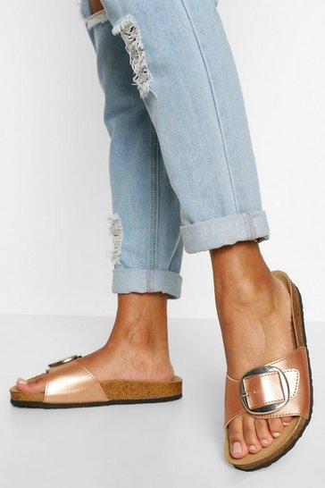 Rose gold Single Strap Footbed Sliders