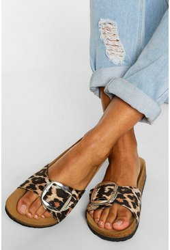 Leopard multi Single Strap Footbed Sliders